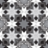 Geometric background with oriental ornaments. Seamless monochrome geometric pattern with oriental decor Stock Image