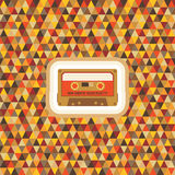 Geometric Background Pattern - Vintage Hipster. Geometric background - seamless vector pattern - in vintage hipster style & Audio Cassette Stock Image