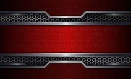 Geometric background, red frame with metal grille. Geometric abstract background, red frame with metal grille stock illustration