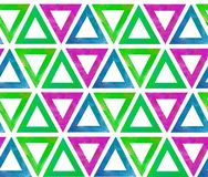 Geometric background seamless pattern of tile triangles with an empty middle made in watercolor on a white background as a stock illustration