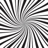 Geometric background with thin and thick radial rays, lines or stripes swirling around center. Backdrop with rotating. Illusion or hypnosis effect. Modern Stock Image