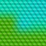 Geometric background. Vector illustration - abstract green and blue background with simple geometric shapes - a rhombus, hexagon, a cube with three-dimensional Stock Photos