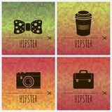Geometric backgrounds with hipster accessories Stock Image