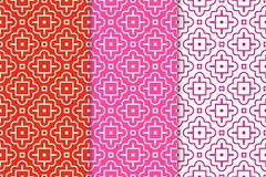 Geometric backgrounds. Set of red and pink seamless patterns. Geometric seamless patterns. Set of red and pink backgrounds for wallpapers and fabrics Stock Photo