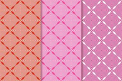 Geometric backgrounds. Set of red and pink seamless patterns. Geometric seamless patterns. Set of red and pink backgrounds for wallpapers and fabrics Royalty Free Stock Photos