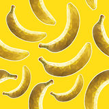Geometric bananas, yellow background. Bananas, seamless pattern Royalty Free Stock Photos