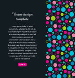 Geometric banner with circles. Colorful texture with multicolor shapes on dark background. Stock Photography