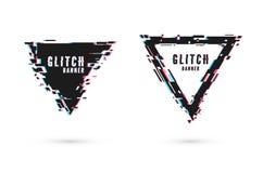 Geometric banner with distortion effect - Glitch. Triangle shape frame. Digital technology modern poster template. Geometric banner with distortion effect stock illustration
