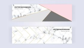 Geometric banner in gold, glitter, grey, pastel pink and marble texture background. Template for designs, card, flyer. Geometric banner in gold, glitter, grey stock illustration