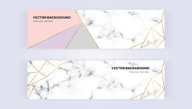Geometric banner with gold lines, grey, pastel pink colors and marble texture background. Template for designs, card, flyer, invit. Ation, party, birthday stock illustration