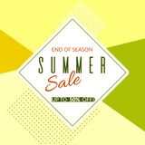 Geometric banner Summer sale end of season 50% discount on a modern geometric background Summer bright colors Design template stock illustration