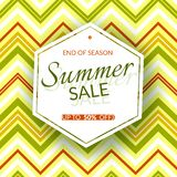 Geometric banner Summer sale end of season 50% discount on a vintage geometric background retro theme Summer colors Design. Template advertising seasonal summer stock illustration