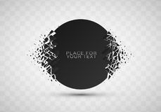 Abstract explosion of black glass. Geometric banners.Abstract explosion of black glass.Square and circle destruction shapes.3d effect of particles.Vector Vector Illustration