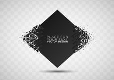 Abstract explosion of black glass. Geometric banners.Abstract explosion of black glass.Square and circle destruction shapes.3d effect of particles.Vector royalty free illustration