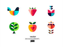 Flat style vector icon set Geometric Bird and flower. Vector abstract design elements. flat geometric image  Bird and flower. AI EPS 10 Royalty Free Stock Photos