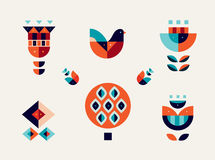 Flat style vector icon set Geometric bird and flowers Royalty Free Stock Photos