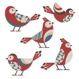 Geometric birds. Set of five cute geometric birds with simple ornament Royalty Free Stock Photos