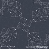 Geometric black background. Molecule and communication background. Graphic background for your design and your text Stock Photography
