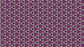 Geometric black-and-purple pattern of triangles and stylized flowers. Stock Images