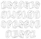 Geometric black and white 3d font made with thin lines. Stock Photo