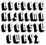 Geometric black and white 3d font. Geometric black and white 3d font, single color simple bold and heavy letters alphabet, best for use in web design and Stock Photography