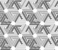 Geometric black and white seamless pattern, endless striped vect Stock Photos