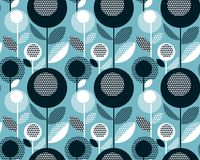 Geometric black and white vintage retro floral design. Concept abstract floral seamless pattern fora surface design. Repeatable motif with stylized flowers for Stock Images