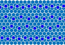 Geometric blue background of figures. The geometric blue pattern of geometric shapes of hexagons, background of lines and colorful hexagons Royalty Free Stock Images