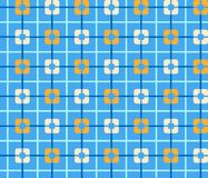 Geometric blue background with orange squares, seamless, color. Orange squares and a thin blue line on a blue field. Vector illustration. Abstract, geometric Royalty Free Stock Photos