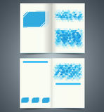 Geometric Blue bifold brochure template design, business leaflet, booklet Stock Image