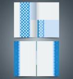 Geometric Blue bifold brochure template design, business leaflet, booklet Stock Photography