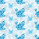 Geometric blue bird pattern. Geometric polygonal blue bird seamless texture pattern background in triangles Stock Image