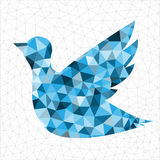 Geometric blue bird. Geometric polygonal blue bird in triangles Stock Photo