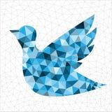 Geometric blue bird. Geometric polygonal blue bird in triangles royalty free illustration