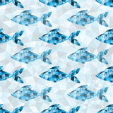 Geometric blue fish pattern. Geometric polygonal blue fish seamless pattern in triangles stock illustration