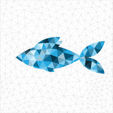 Geometric blue fish. Geometric polygonal blue fish in triangles Stock Image