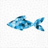 Geometric blue fish. Geometric polygonal blue fish in triangles royalty free illustration