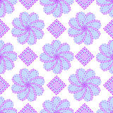 Geometric blue floral vector pattern Royalty Free Stock Photos