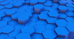 Geometric blue hexagon blocks 3d motion footage vector illustration