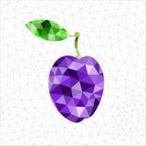 Geometric blue plum. Abstract geometric violet plum, Polygonal triangle fruit stock illustration