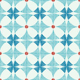 Geometric blue red ikat seamless pattern Royalty Free Stock Photos