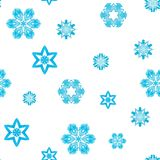 Geometric blue snowflakes. Watercolor seamless pattern stock illustration