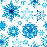 Geometric blue snowflakes. Watercolor seamless pattern vector illustration