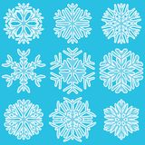 Geometric blue snowflakes Stock Image