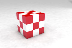 Geometric body made of red and white cubes. 3D render image vector illustration