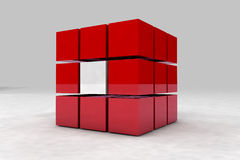 Geometric body made of red and white cubes. 3D render image royalty free illustration