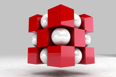 Geometric body made of white balls and red cubes. 3D render image Stock Images