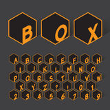 Geometric Box Alphabet and Numbers Stock Images