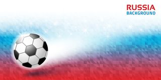 Geometric bright abstract horizontal background. Russia 2018 flag colors. Soccer ball icon. Vector illustration.  Stock Image