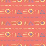Geometric bright multi colored seamless background. Blue and beige elements on orange background. Design for wallpapers and fabrics Royalty Free Stock Images